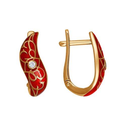 Золотые серьги с красной эмалью и бриллиантами SOKOLOV детские серьги sokolov золотые серьги с куб циркониями и эмалью 026512 page 3
