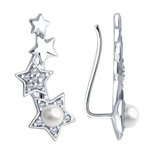 Серьги из серебра с жемчугом Swarovski и фианитами (94022673) - фото