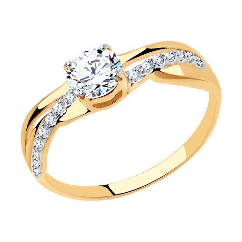Кольцо из золота с фианитами (018520) - фото