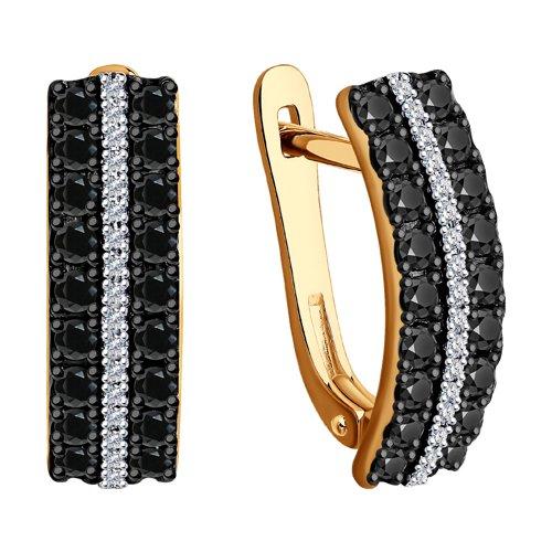 Серьги из золота с бесцветными и чёрными бриллиантами 7020062 SOKOLOV фото 3