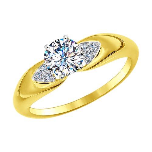 Кольцо из желтого золота с фианитами (016993-2) - фото