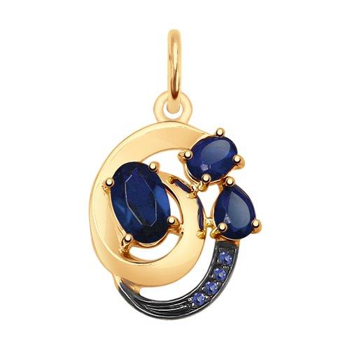Подвеска из золота с синими корундами (синт.) и фианитами (731822) - фото