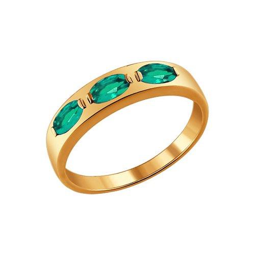 Золотое кольцо, три SOKOLOV изумруда золотое кольцо ювелирное изделие 01k616351