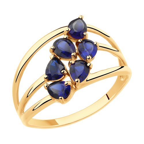 Кольцо из золота с синими корундами (715461) - фото