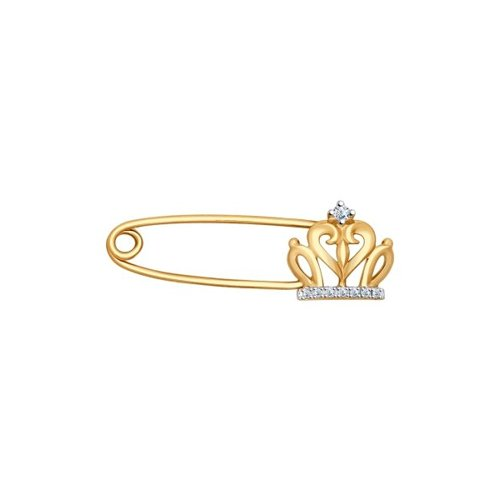 Брошь из золота с бриллиантами (1040013) - фото