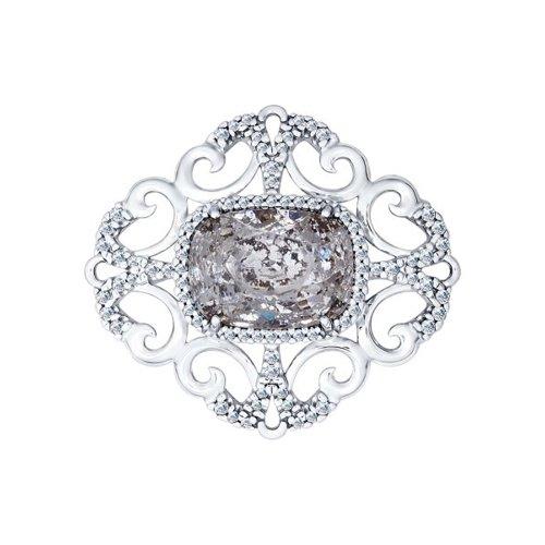 Брошь из серебра с кристаллом Swarovski и фианитами