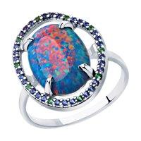 Кольцо из серебра с синим опалом и фианитами