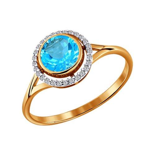 цена на Женское золотое кольцо с топазом и фианитами