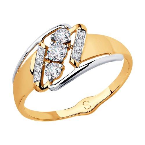 Кольцо из золота с фианитами (018073) - фото