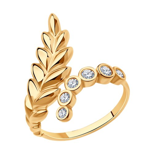 Кольцо из золочёного серебра с фианитами (93010719) - фото