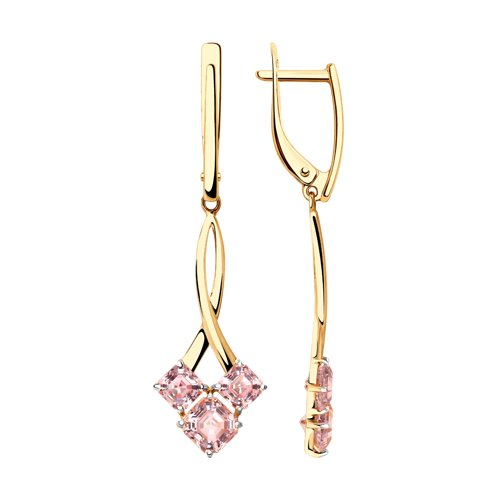 Серьги из золота с розовыми Swarovski Zirconia