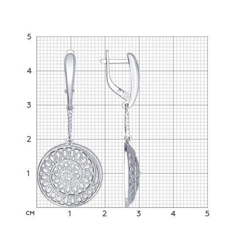 Серьги длинные из серебра (94022346) - фото №2
