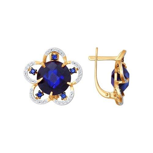 Серьги SOKOLOV из золота с бриллиантами и корундами сапфировыми (синт.)