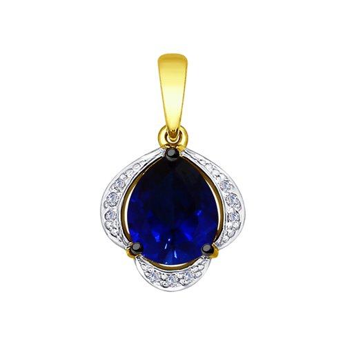 Подвеска из желтого золота с бриллиантами и синим корундом (синт.) (6032044-2) - фото