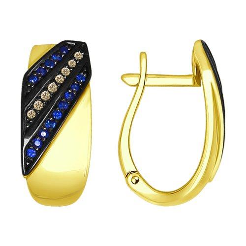 Серьги из желтого золота с коньячными бриллиантами и сапфирами