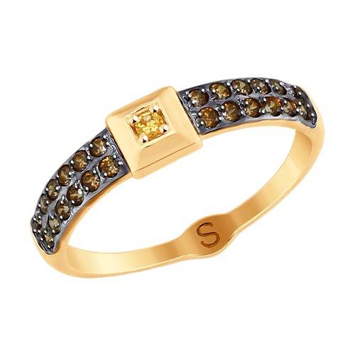 Кольцо из золота с фианитами (017819) - фото