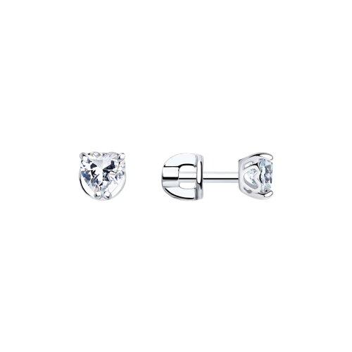 Серьги-пусеты из серебра с фианитами 94021971