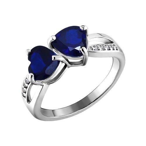 Серебряное кольцо с фианитами в форме сердец SOKOLOV