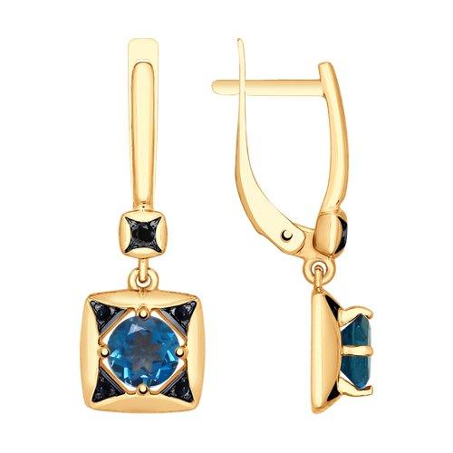 Серьги из золота с синими топазами и чёрными фианитами (725206) - фото