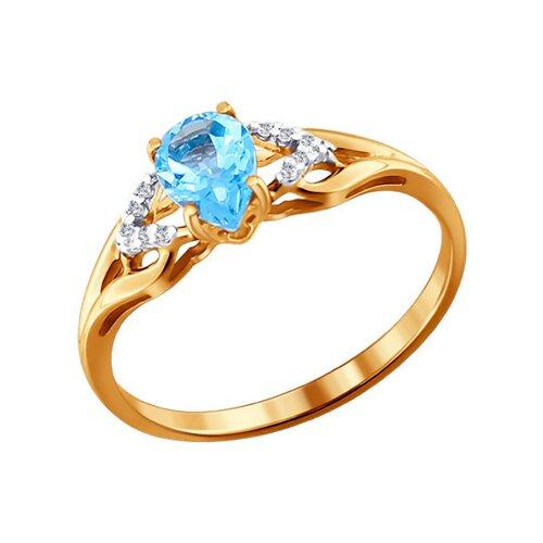 Кольцо из золота с топазом и фианитами (713828) - фото
