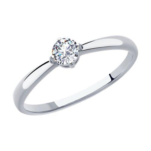 Кольцо из серебра с фианитом (94012840) - фото