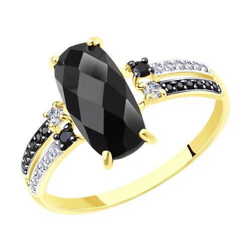 Кольцо SOKOLOV из желтого золота с чёрным агатом и бесцветными и чёрными фианитами кольцо sokolov из золота с бесцветными и чёрными фианитами