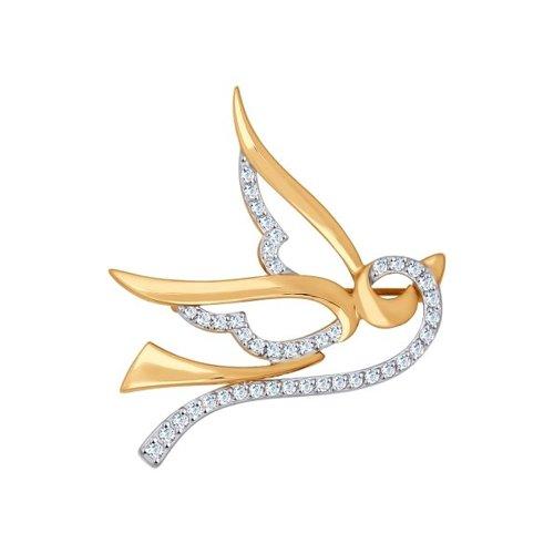 Брошь «Ласточка» из золота