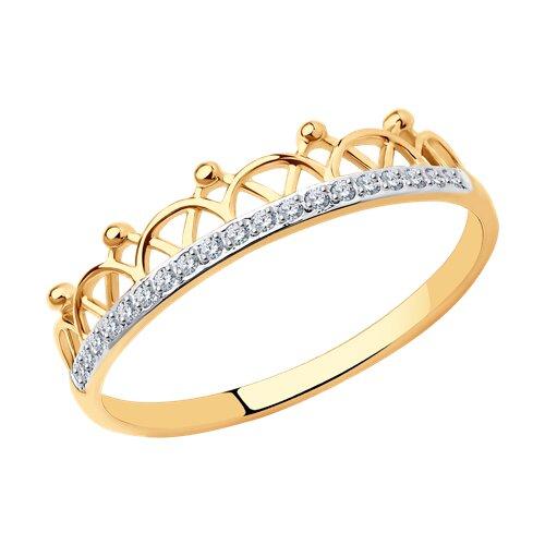 Кольцо из золота с фианитами (017578) - фото