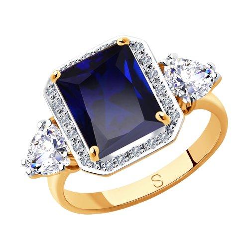 Кольцо из золота с миксом камней (6012160) - фото