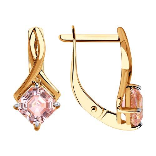 Серьги из золота с розовыми Сваровски