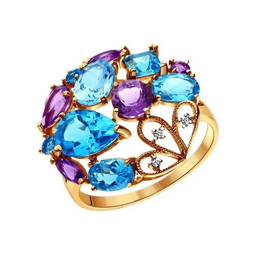 Восточное кольцо SOKOLOV из золота с аметистами, топазами и фианитами цена и фото