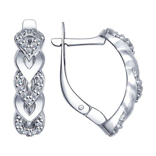 Серьги из серебра с фианитами (94022482) - фото
