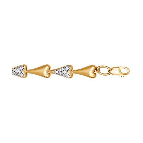 Золотой браслет из звеньев в форме сердца
