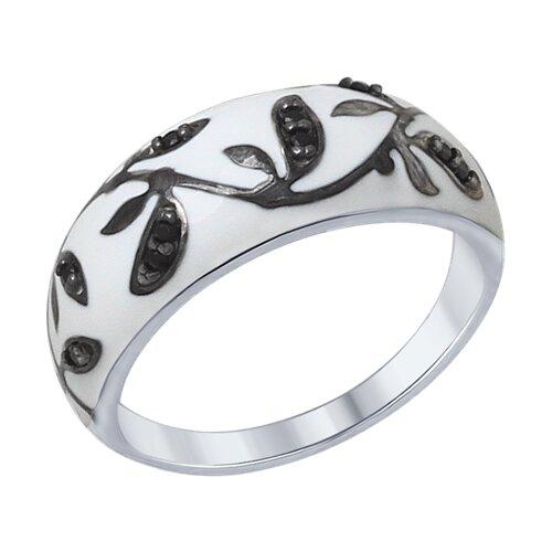 Кольцо из серебра с эмалью с чёрными фианитами (94012307) - фото