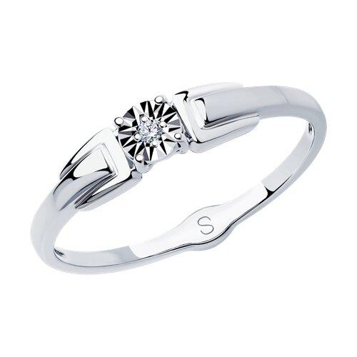 Кольцо из белого золота с алмазной гранью с бриллиантом (1011732) - фото