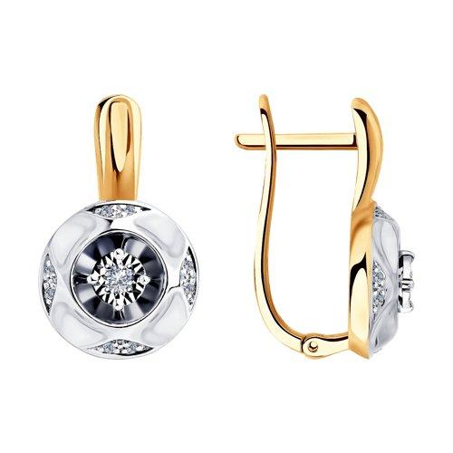 Серьги из комбинированного золота с бриллиантами 1021324 SOKOLOV фото