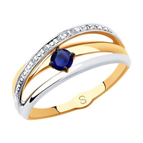 Кольцо из золота с бриллиантами и сапфиром 2011121 SOKOLOV фото