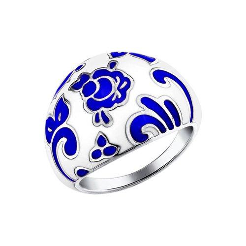 Кольцо стилизованное под Гжель