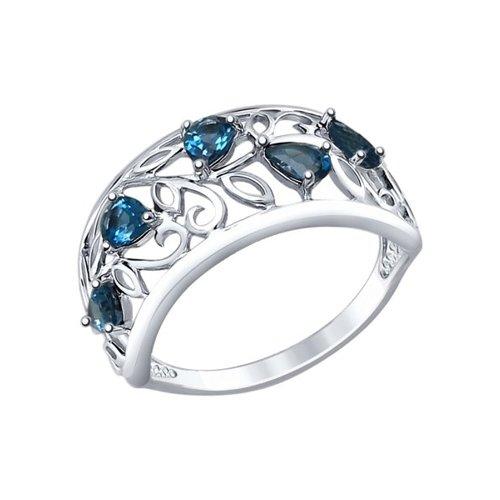 Кольцо из серебра с топазами (92011375) - фото