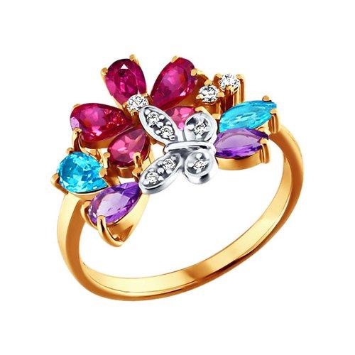 Яркое золотое кольцо с бабочкой SOKOLOV золотое кольцо ювелирное изделие 01k683639