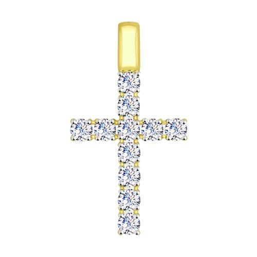 Подвеска из желтого золота со Swarovski Zirconia (81030072-2) - фото