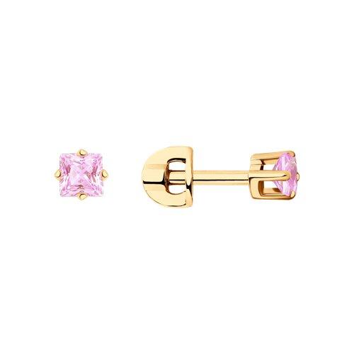 Серьги-пусеты из золота с розовыми фианитами