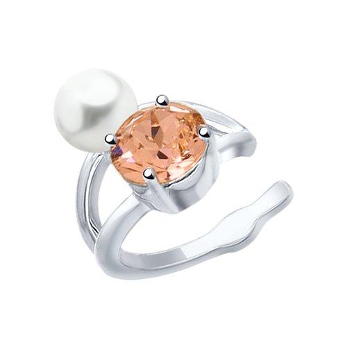 Серьга из серебра с жемчугом Swarovski и розовым кристаллом Swarovski (94170066) - фото