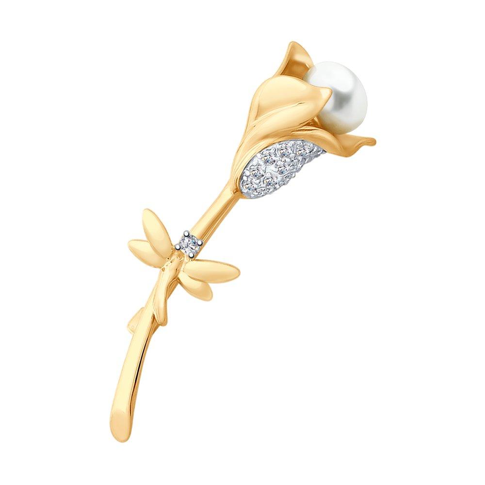 цена на Золота брошь с жемчугом «Изящный цветок» SOKOLOV
