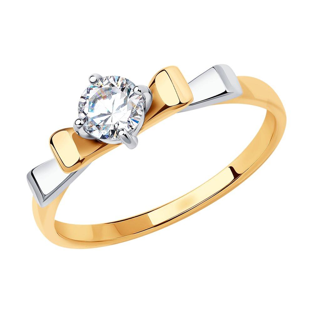 Фото - Кольцо SOKOLOV из комбинированного золота с фианитом Swarovski кольцо sokolov из комбинированного золота с синим фианитом