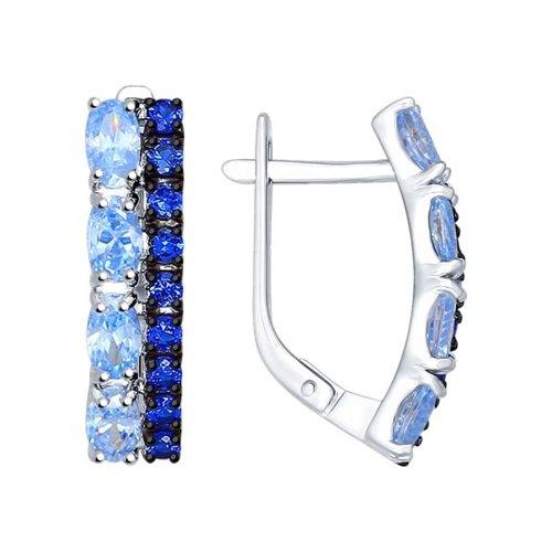Серьги из серебра с синими и голубыми фианитами