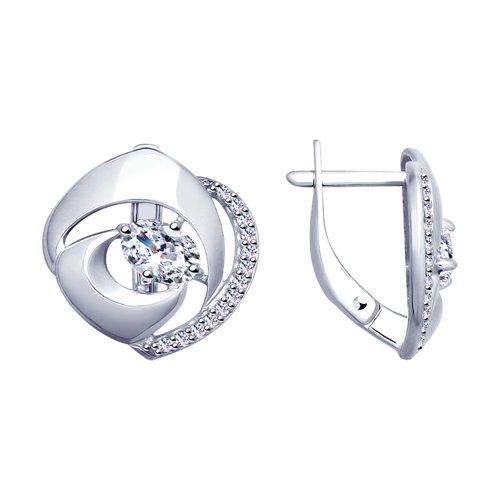 Серьги из серебра с фианитами (94022893) - фото