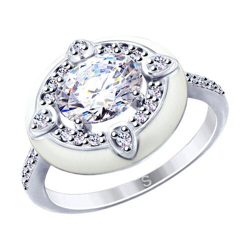 Кольцо из серебра с эмалью и фианитами (94012732) - фото