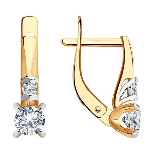 Серьги из золота с фианитами (028131) - фото