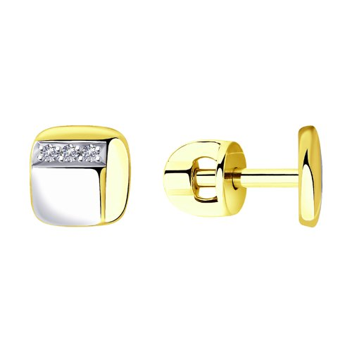Серьги из желтого золота с бриллиантами (1021425-2) - фото